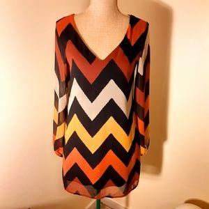 🌻3/$20Coveted Clothing zigzag chiffon shift dress